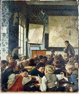 Classe pendant une leçon de géographie, Carl Conrad Julius Hertel (1837-1895)© BPK, Berlin, Dist. RMN-Grand Palais / Ursula Gerstenberger