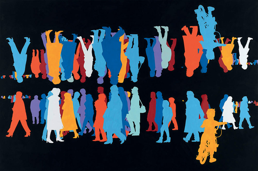 Gérard Fromanger, Corpsà corps, bleu, Paris-Sienne, 2003-2006 © Centre Pompidou, Mnam-Cci, Dist. Rmn-Grand Palais/ Philippe Migeat ©Gérard Fromanger