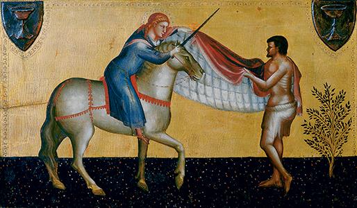 Saint Martin coupe son manteau pour en donner la moitié à un pauvre, Lorenzo diBicci (1373-1452) © Archives Alinari, Florence, Dist. RMN-Grand Palais / Finsiel / Alinari