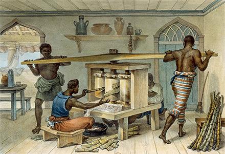 Brésil. Petit moulin à sucre portatif, esclaves au travail dans les plantations, Jean-Baptiste Debret, vers 1834-1839 © BnF, Dist. RMN-Grand Palais / image BnF