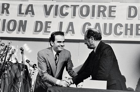 L'Union de la gauche, 1977, Georges Marchais et Francois Mitterrand © Alain Nogues/Sygma/Corbis