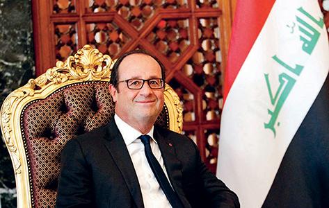 Le président François Hollande à son arrivée à Bagdad le 12 septembre 2014 © Thaier Al-Sudani/Pool/epa/Corbis