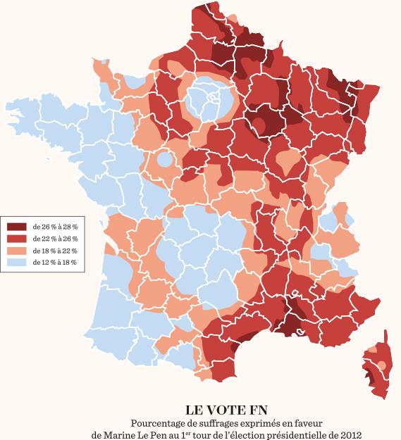 carte des votes en france Le 1 hebdo   Les cartes des Inégalités et du vote FN se