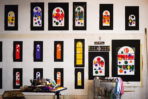 Atelier de Gérard Fromanger à Paris, mars 2016 © photo Mickael Bougouin pour le 1