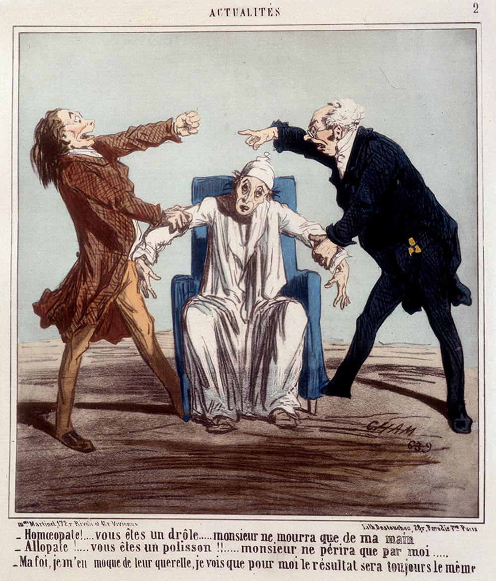 Caricature de Cham surlaquerelle des allopathes etdes homéopathes, 1863 ©Costa/ Leemage