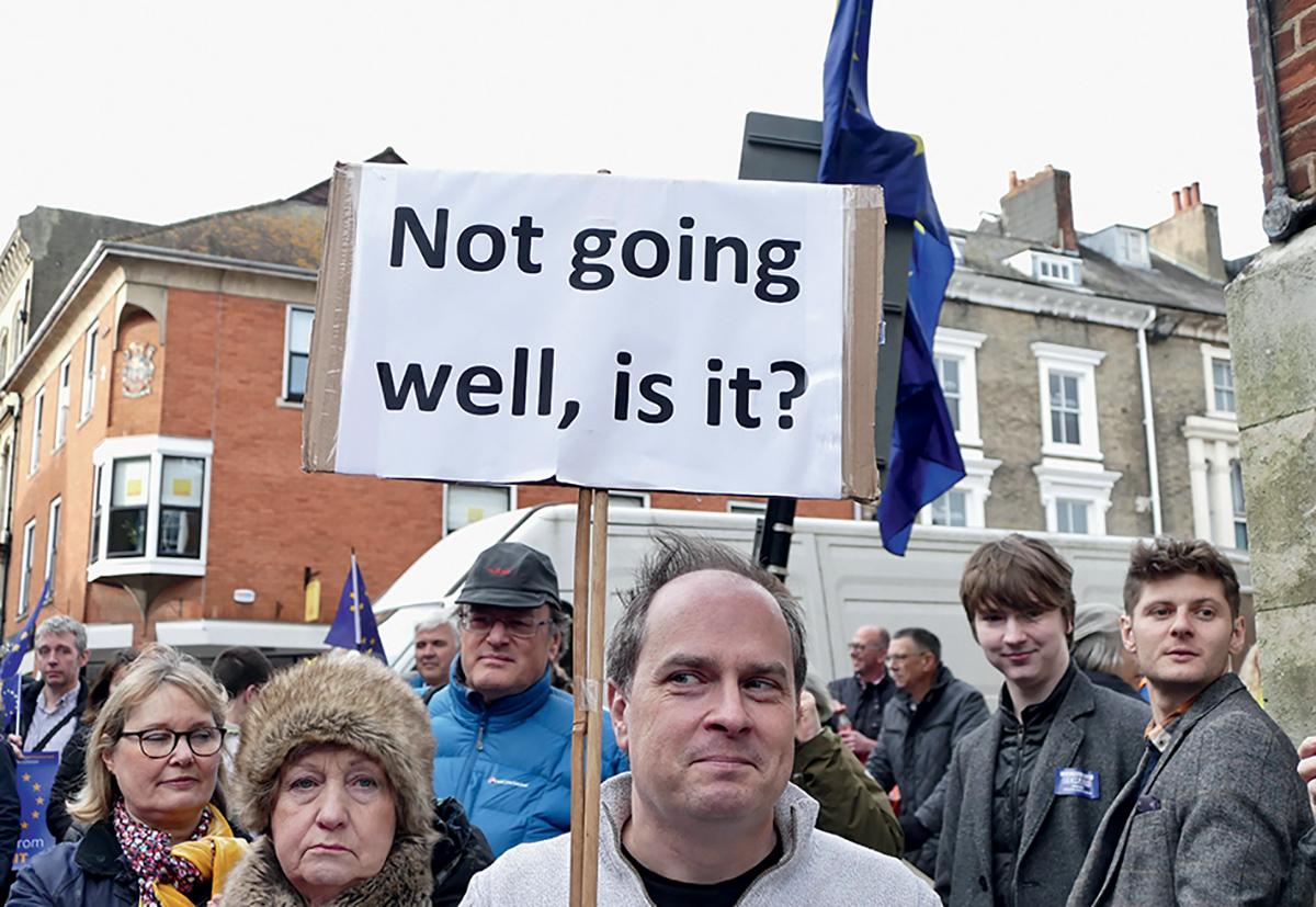 «ça va pas fort, pas vrai?» Manifestation contre le Brexit àWinchester, 9février 2019 ©Geoffrey Swaine/ REX/ Shutterstock/ SIPA