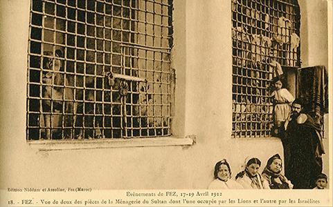 Fès, 1912, Juifs réfugiés dans la ménagerie du sultan
